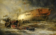 Storm and Sunshine: A Battle with the Elements painting reproduction, William Lionel Wylie
