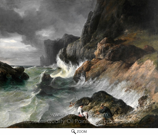 French Painter, Stormy Coast Scene after a Shipwreck oil painting reproduction