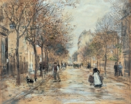 Street in Asnieres painting reproduction, Jean-Francois Raffaelli