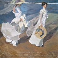Strolling Along the Seashore painting reproduction, Joaquin Sorolla