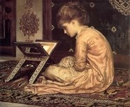Study at a Reading Desk painting reproduction, Lord Frederic Leighton