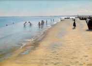 Summer Day at Skagen South Beach painting reproduction, Peder Severin Kroyer