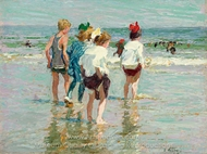 Summer Day, Brighton Beach painting reproduction, Edward Henry Potthast