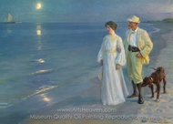 Summer Evening at Skagen Beach, the Artist and His Wife painting reproduction, Peder Severin Kroyer