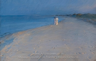 Summer Evening at the South Beach, Skagen, Anna Ancher and Marie Kroyer painting reproduction, Peder Severin Kroyer