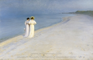 Summer Evening on the Souther Beach painting reproduction, Peder Severin Kroyer