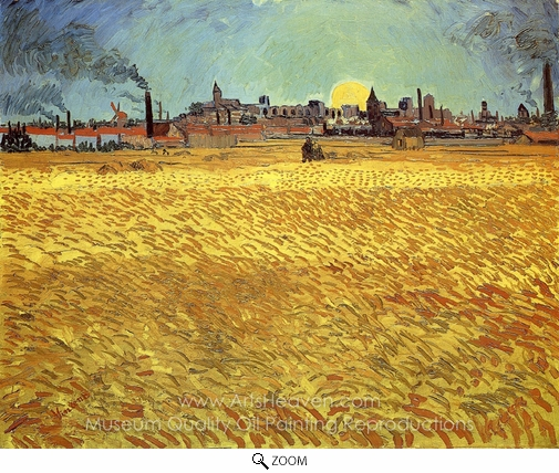 Vincent Van Gogh, Summer Evening, Wheatfield with Setting Sun oil painting reproduction