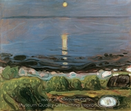 Summer Night by the Beach painting reproduction, Edvard Munch