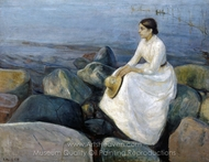 Summer Night, Inger on the Beach painting reproduction, Edvard Munch