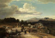 Sunday Walk in the Roman Countryside painting reproduction, Oswald Achenbach