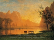 Sundown at Yosemite painting reproduction, Albert Bierstadt
