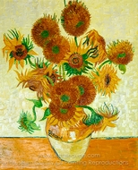 Sunflowers (14 in a Vase) painting reproduction, Vincent Van Gogh