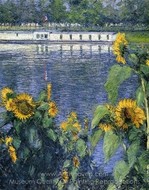 Sunflowers on the Banks of the Seine painting reproduction, Gustave Caillebotte