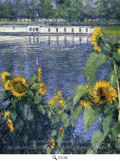 Gustave Caillebotte, Sunflowers on the Banks of the Seine oil painting reproduction