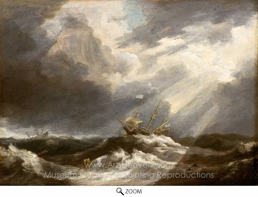 Bonaventure Peeters, Sunlight on a Stormy Sea oil painting reproduction