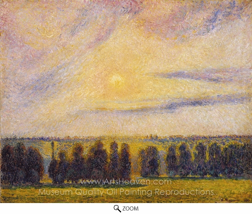 Camille Pissarro, Sunset at Eragny oil painting reproduction