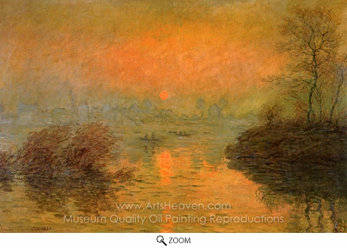 Claude Monet, Sunset at Lavacourt oil painting reproduction