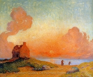 Sunset by the Sea, Brittany painting reproduction, Ferdinand Du Puigaudeau