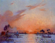 Sunset in Briere painting reproduction, Ferdinand Du Puigaudeau