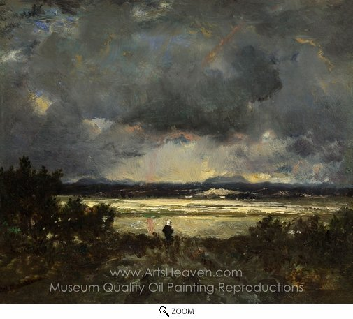 Theodore Rousseau, Sunset in the Auvergne oil painting reproduction