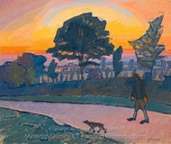 Sunset, Letchworth with Man and Dog painting reproduction, Spencer Frederick Gore