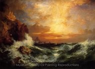 Sunset Near Land's End, Cornwall, England painting reproduction, Thomas Moran