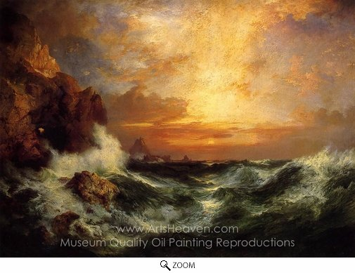 Thomas Moran, Sunset Near Land's End, Cornwall, England oil painting reproduction