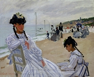 Sur la Plage a Trouville painting reproduction, Claude Monet