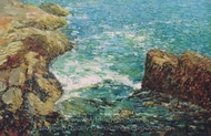 Surf and Rocks painting reproduction, Childe Hassam