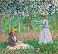 Suzanne Reading and Blanche Painting at Giverny painting reproduction, Claude Monet