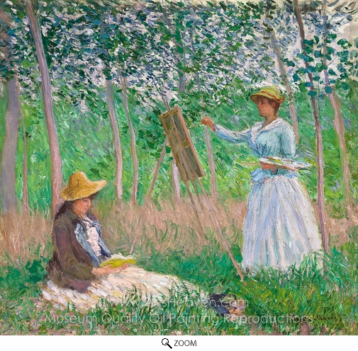Claude Monet, Suzanne Reading and Blanche Painting at Giverny oil painting reproduction