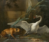 Swan Attacked by a Dog painting reproduction, Jean-Baptiste Oudry