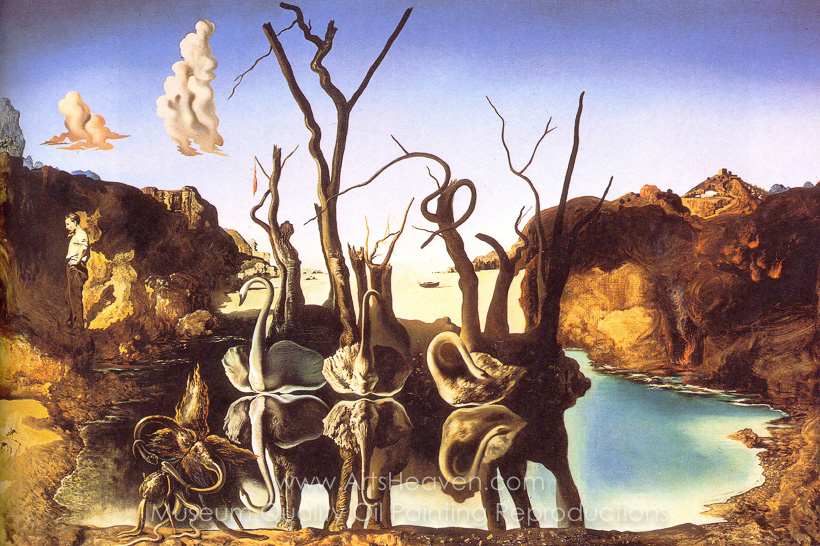 salvador dali inspired by swans reflecting elephants oil painting reproduction