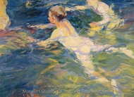 Swimmers, Javea painting reproduction, Joaquin Sorolla