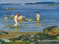 Swimming painting reproduction, Edward Henry Potthast
