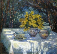 Table with Yellow Bouquet painting reproduction, Ferdinand Du Puigaudeau