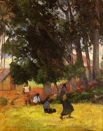 Tahitian Village painting reproduction, Paul Gauguin