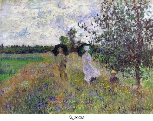 Claude Monet, Taking a Walk Near Argenteuil oil painting reproduction