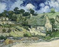 Tatched Cottages in Cordeville painting reproduction, Vincent Van Gogh