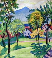 Tegernsee Landscape painting reproduction, August Macke