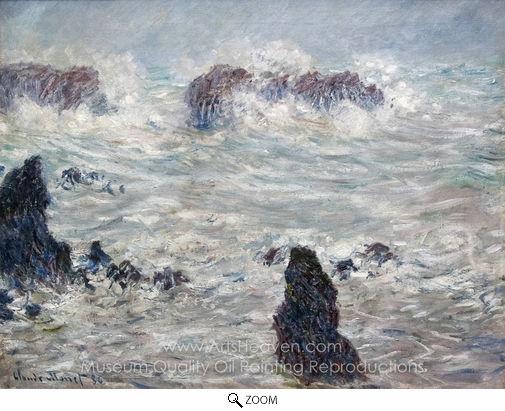 Claude Monet, Tempete, Cotes de Belle-Ile oil painting reproduction