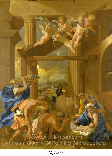 Nicolas Poussin, The Adoration of the Shepherds oil painting reproduction