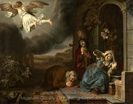The Angel Taking Leave of Tobit and His Family painting reproduction, Jan Victors