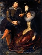 The Artist and His Wife in a Honeysuckle Bower painting reproduction, Peter Paul Rubens