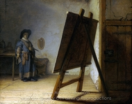 The Artist in His Studio painting reproduction, Rembrandt Van Rijn