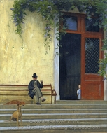 The Artist's Father and Son on the Doorstep of His House painting reproduction, Jean-Leon Gerome