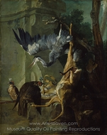 The Bag, a Dead Deer, Two Falcons and a Heron painting reproduction, Jean-Baptiste Oudry