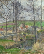 The Banks of the Viosne at Osny in Grey Weather, Winter painting reproduction, Camille Pissarro