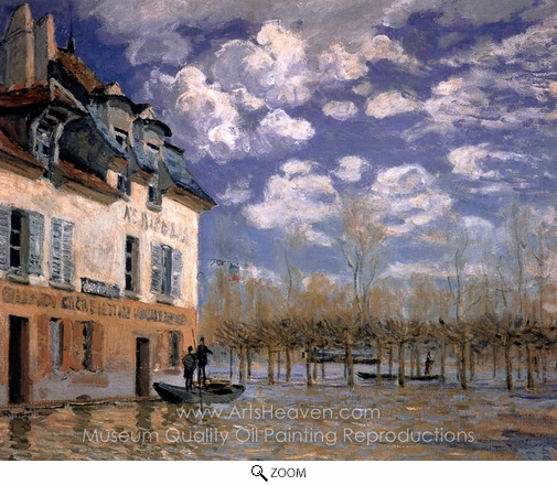 Alfred Sisley, The Bark During the Flood, Port Marly oil painting reproduction