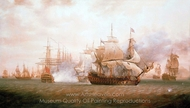 The Battle of Frigate Bay, 26 January 1782 painting reproduction, Nicholas Pocock